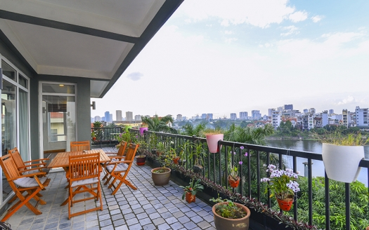 4 beds serviced apartment in Tay Ho with terrace facing the West lake