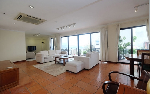 Lake view large 2 bedrooms apartment with terrace in Truc Bach